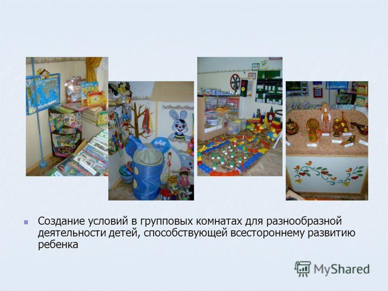 Создание условий в групповых комнатах для разнообразной деятельности детей, способствующей всестороннему развитию ребенка Создание условий в групповых комнатах для разнообразной деятельности детей, способствующей всестороннему развитию ребенка