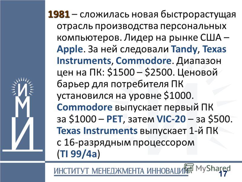17 1981 1981 – сложилась новая быстрорастущая отрасль производства персональных компьютеров. Лидер на рынке США – Apple. За ней следовали Tandy, Texas Instruments, Commodore. Диапазон цен на ПК: $1500 – $2500. Ценовой барьер для потребителя ПК устано