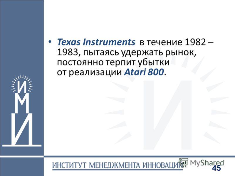 45 Texas Instruments в течение 1982 – 1983, пытаясь удержать рынок, постоянно терпит убытки от реализации Atari 800.
