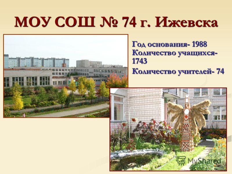 МОУ СОШ 74 г. Ижевска Год основания- 1988 Количество учащихся- 1743 Количество учителей- 74