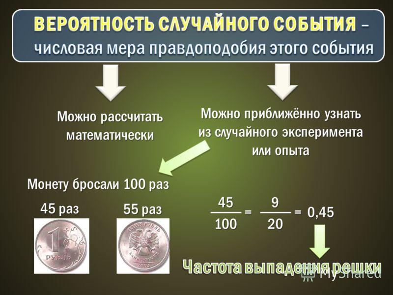 Можно рассчитать математически Можно приближённо узнать из случайного эксперимента или опыта Монету бросали 100 раз 45 раз 55 раз 45 100 = 9 20 =0,45