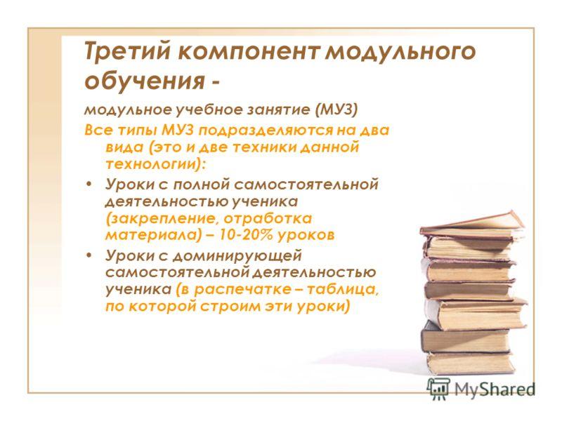 Третий компонент модульного обучения - модульное учебное занятие (МУЗ) Все типы МУЗ подразделяются на два вида (это и две техники данной технологии): Уроки с полной самостоятельной деятельностью ученика (закрепление, отработка материала) – 10-20% уро