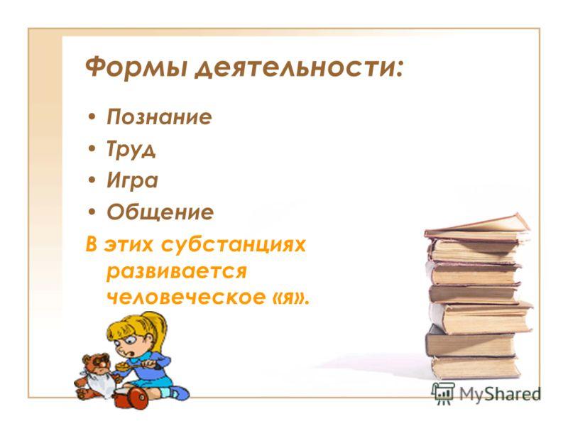 Формы деятельности: Познание Труд Игра Общение В этих субстанциях развивается человеческое «я».