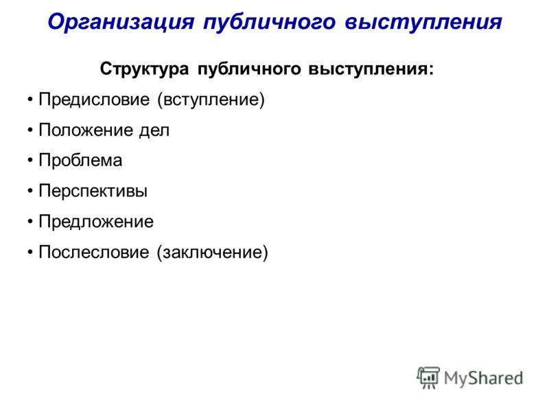 Организация публичного выступления Структура публичного выступления: Предисловие (вступление) Положение дел Проблема Перспективы Предложение Послесловие (заключение)