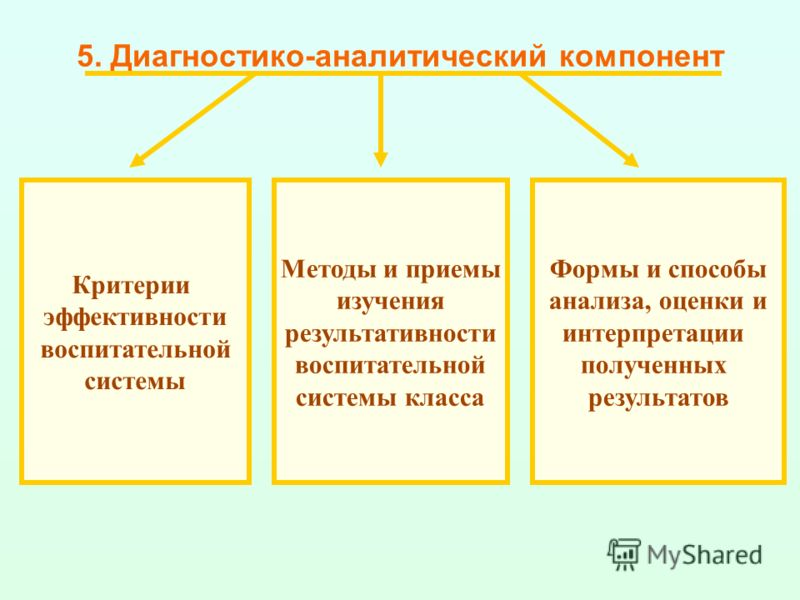5. Диагностико-аналитический компонент Критерии эффективности воспитательной системы Методы и приемы изучения результативности воспитательной системы класса Формы и способы анализа, оценки и интерпретации полученных результатов