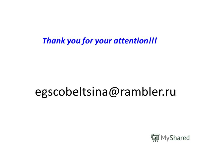 Thank you for your attention!!! egscobeltsina@rambler.ru