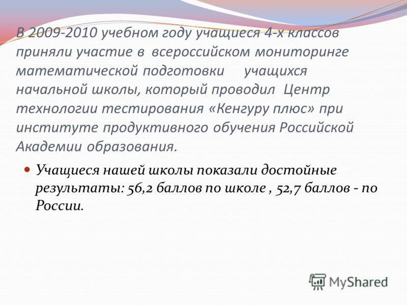В 2009-2010 учебном году учащиеся 4-х классов приняли участие в всероссийском мониторинге математической подготовки учащихся начальной школы, который проводил Центр технологии тестирования «Кенгуру плюс» при институте продуктивного обучения Российско