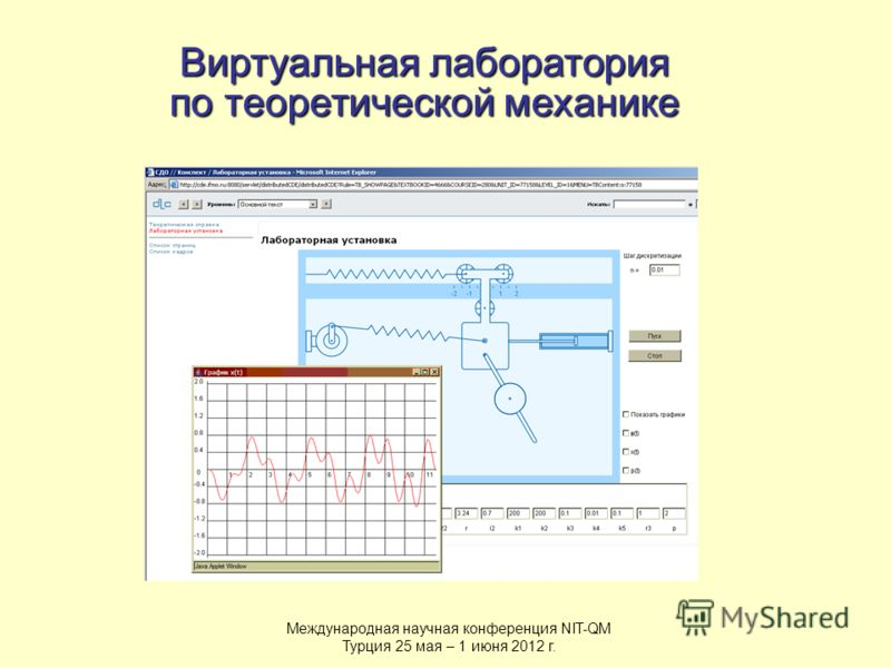 Виртуальная лаборатория по теоретической механике Международная научная конференция NIT-QM Турция 25 мая – 1 июня 2012 г.