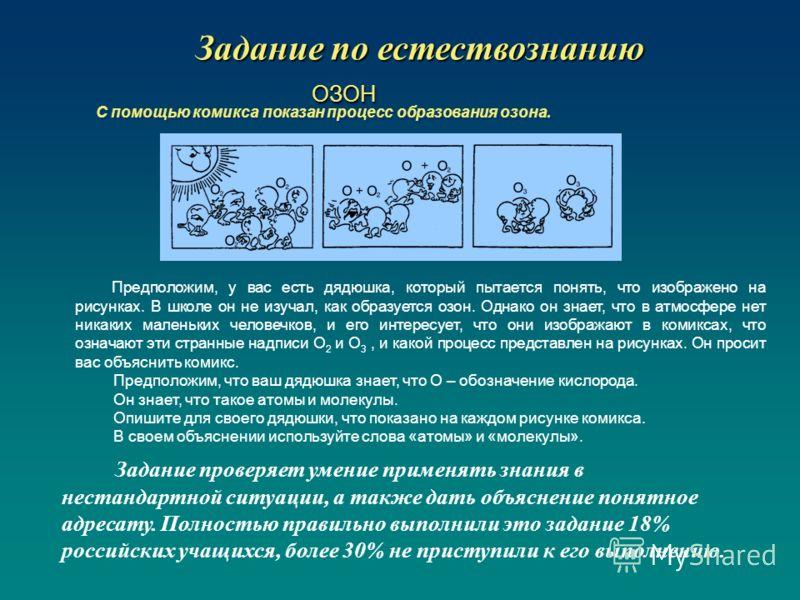 Задание по естествознанию ОЗОН ОЗОН С помощью комикса показан процесс образования озона. Предположим, у вас есть дядюшка, который пытается понять, что изображено на рисунках. В школе он не изучал, как образуется озон. Однако он знает, что в атмосфере