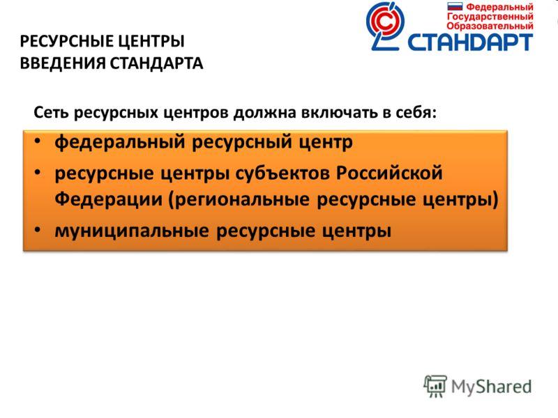 РЕСУРСНЫЕ ЦЕНТРЫ ВВЕДЕНИЯ СТАНДАРТА Сеть ресурсных центров должна включать в себя: федеральный ресурсный центр ресурсные центры субъектов Российской Федерации (региональные ресурсные центры) муниципальные ресурсные центры