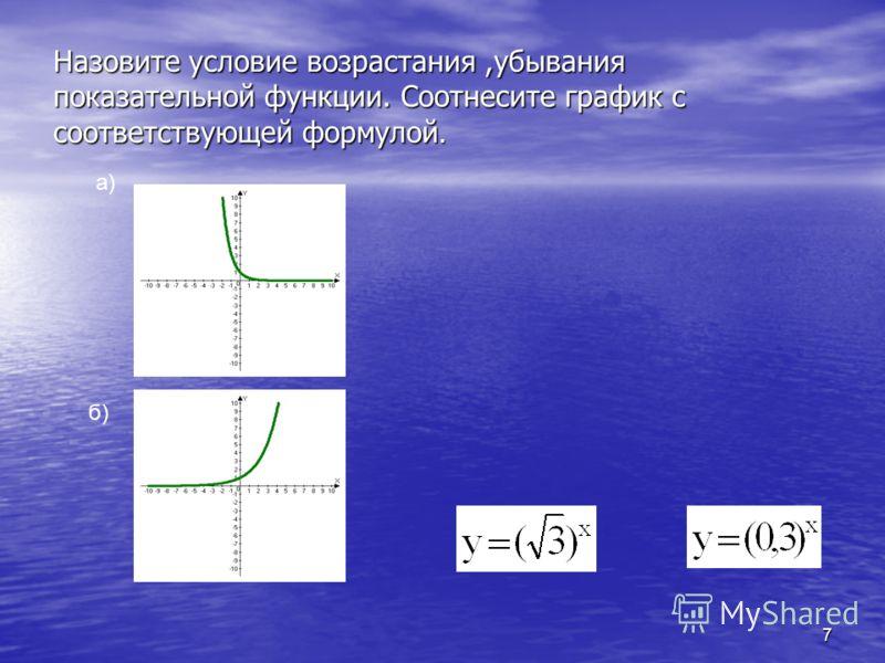 7 Назовите условие возрастания,убывания показательной функции. Соотнесите график с соответствующей формулой. а) б)