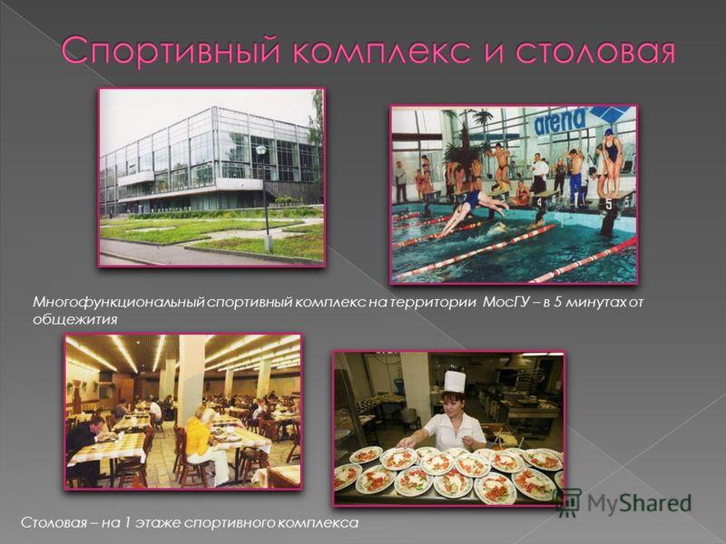 Многофункциональный спортивный комплекс на территории МосГУ – в 5 минутах от общежития Столовая – на 1 этаже спортивного комплекса