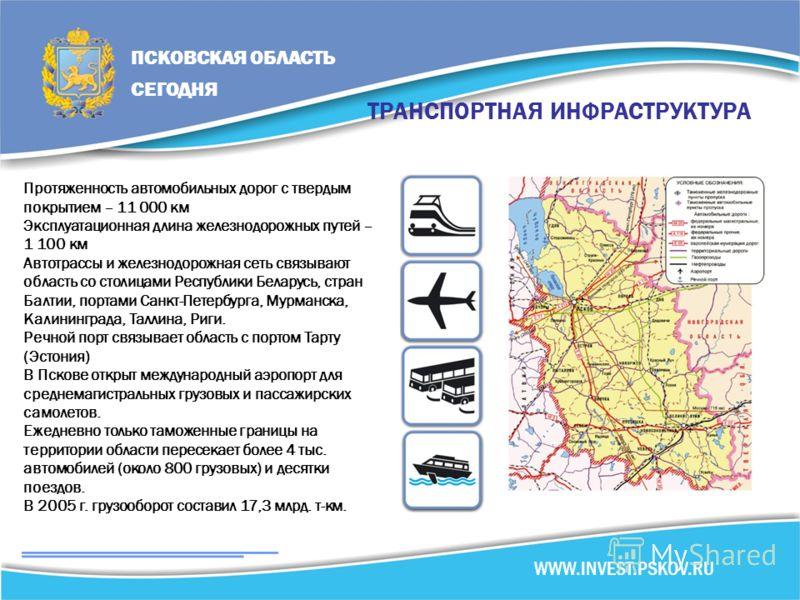 ТРАНСПОРТНАЯ ИНФРАСТРУКТУРА Протяженность автомобильных дорог с твердым покрытием – 11 000 км Эксплуатационная длина железнодорожных путей – 1 100 км Автотрассы и железнодорожная сеть связывают область со столицами Республики Беларусь, стран Балтии,