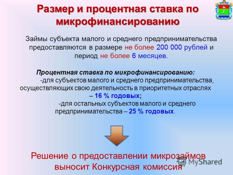 Размер и процентная ставка по микрофинансированию Решение о предоставлении микрозаймов выносит Конкурсная комиссия Займы субъекта малого и среднего предпринимательства предоставляются в размере не более 200 000 рублей и период не более 6 месяцев. Про