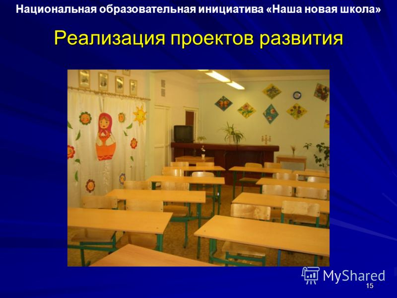 Реализация проектов развития Национальная образовательная инициатива «Наша новая школа» 15