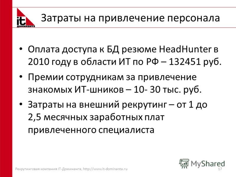 Затраты на привлечение персонала Оплата доступа к БД резюме HeadHunter в 2010 году в области ИТ по РФ – 132451 руб. Премии сотрудникам за привлечение знакомых ИТ-шников – 10- 30 тыс. руб. Затраты на внешний рекрутинг – от 1 до 2,5 месячных заработных