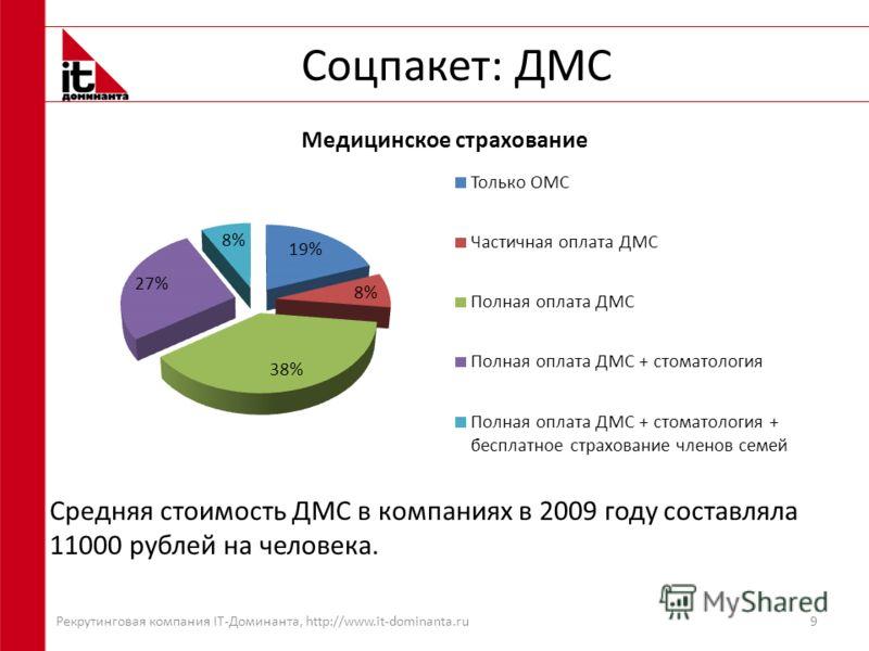 Соцпакет: ДМС 9 Средняя стоимость ДМС в компаниях в 2009 году составляла 11000 рублей на человека. Рекрутинговая компания IT-Доминанта, http://www.it-dominanta.ru