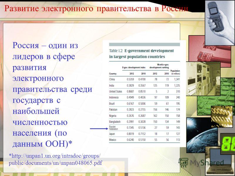Развитие электронного правительства в России Россия – один из лидеров в сфере развития электронного правительства среди государств с наибольшей численностью населения (по данным ООН)* *http://unpan1.un.org/intradoc/groups/ public/documents/un/unpan04