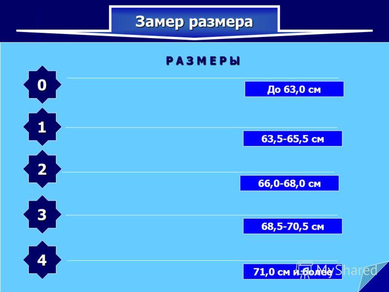 Замер размера нужно измерить голову по замкнутой линии, проходящей через макушку, щеки и подбородок Р А З М Е Р Ы 0 1 3 2 4 До 63,0 см 63,5-65,5 см 66,0-68,0 см 68,5-70,5 см 71,0 см и более