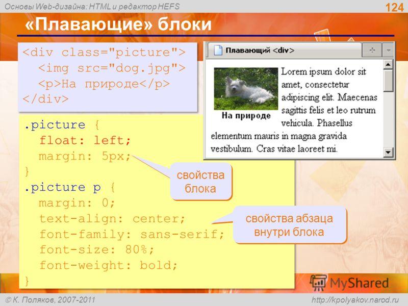 Основы Web-дизайна: HTML и редактор HEFS К. Поляков, 2007-2011 http://kpolyakov.narod.ru 124 «Плавающие» блоки.picture { float: left; margin: 5px; }.picture p { margin: 0; text-align: center; font-family: sans-serif; font-size: 80%; font-weight: bold
