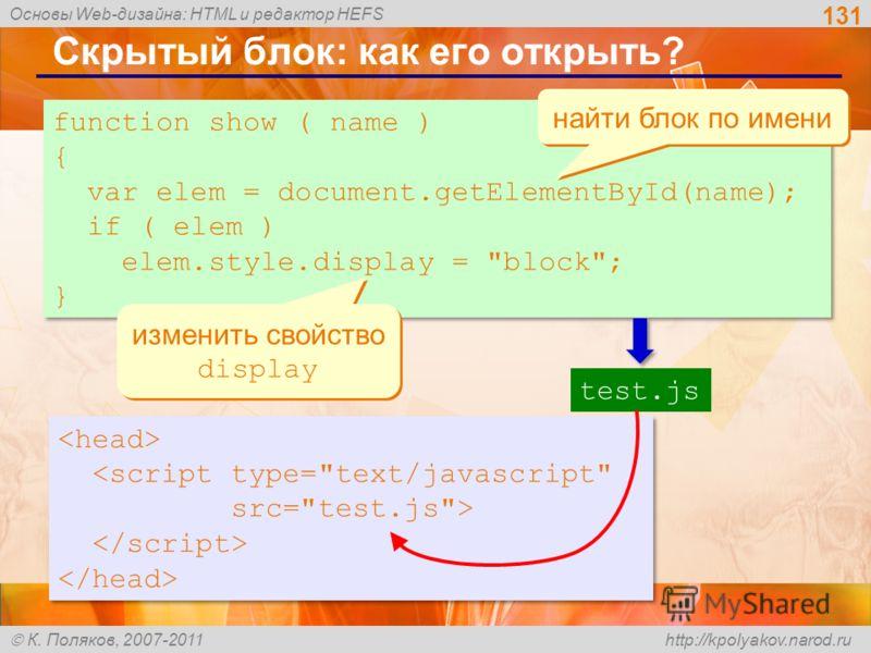 Основы Web-дизайна: HTML и редактор HEFS К. Поляков, 2007-2011 http://kpolyakov.narod.ru Скрытый блок: как его открыть? 131 function show ( name ) { var elem = document.getElementById(name); if ( elem ) elem.style.display =