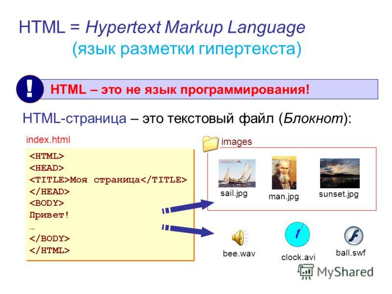 Язык HTML HTML = Hypertext Markup Language (язык разметки гипертекста) HTML – это не язык программирования! ! HTML-страница – это текстовый файл (Блокнот): Моя страница Привет! … Моя страница Привет! … index.html sail.jpg man.jpg sunset.jpg clock.avi