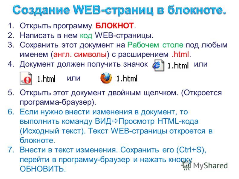 1.Открыть программу БЛОКНОТ. 2.Написать в нем код WEB-страницы. 3.Сохранить этот документ на Рабочем столе под любым именем (англ. символы) с расширением.html. 4.Документ должен получить значок или 5.Открыть этот документ двойным щелчком. (Откроется