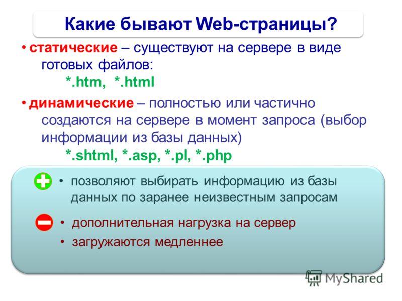 Какие бывают Web-страницы? статические – существуют на сервере в виде готовых файлов: *.htm, *.html динамические – полностью или частично создаются на сервере в момент запроса (выбор информации из базы данных) *.shtml, *.asp, *.pl, *.php позволяют вы