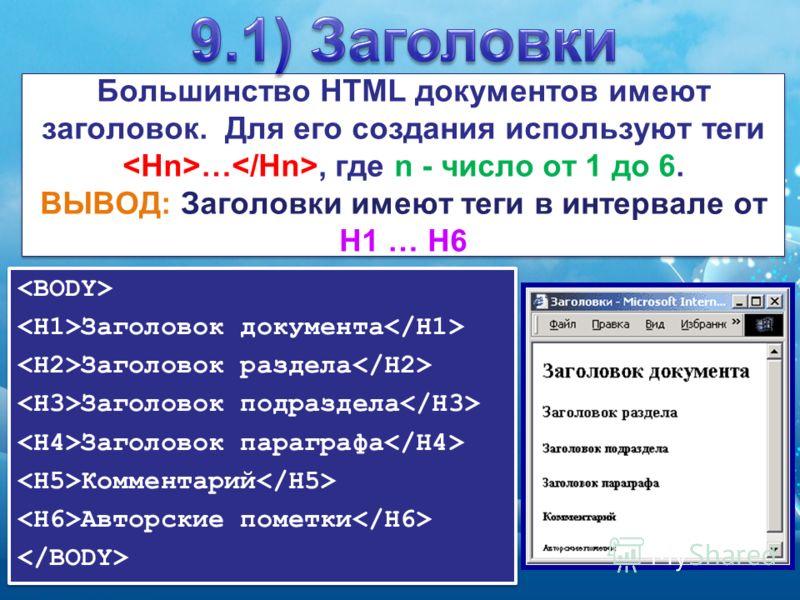 Большинство HTML документов имеют заголовок. Для его создания используют теги …, где n - число от 1 до 6. ВЫВОД: Заголовки имеют теги в интервале от H1 … H6 Заголовок документа Заголовок раздела Заголовок подраздела Заголовок параграфа Комментарий Ав
