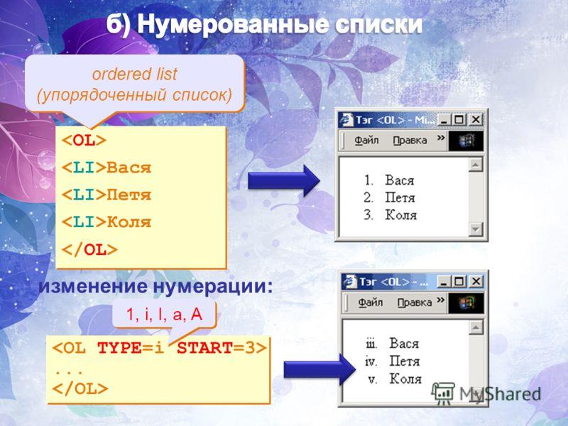 Вася Петя Коля Вася Петя Коля ordered list (упорядоченный список) изменение нумерации:...... 1, i, I, a, A