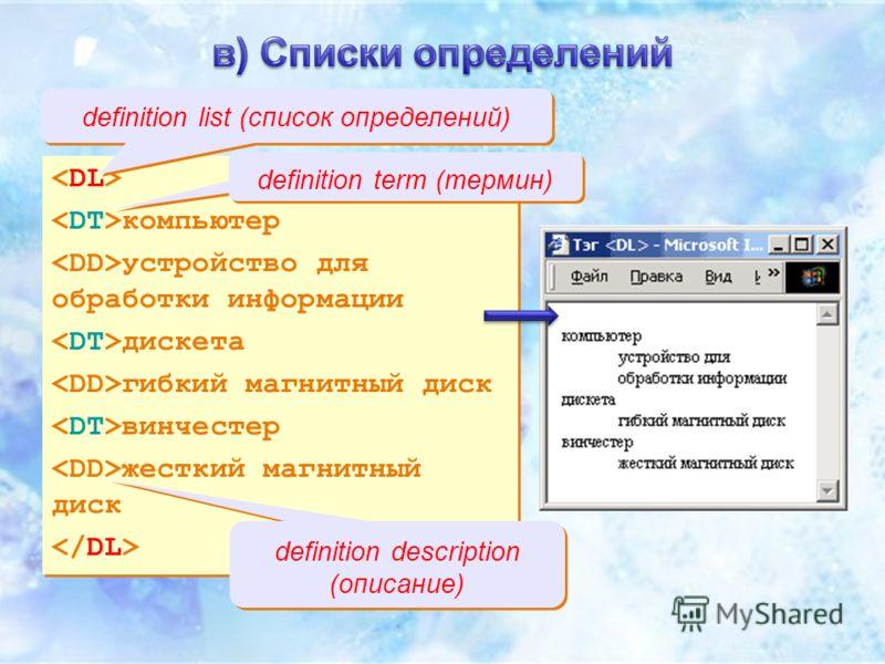 компьютер устройство для обработки информации дискета гибкий магнитный диск винчестер жесткий магнитный диск компьютер устройство для обработки информации дискета гибкий магнитный диск винчестер жесткий магнитный диск definition list (список определе