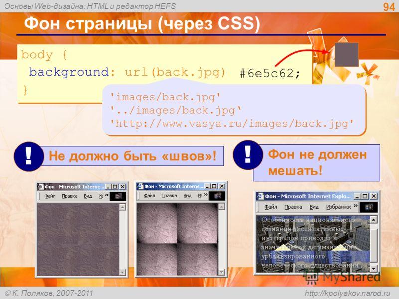 Основы Web-дизайна: HTML и редактор HEFS К. Поляков, 2007-2011 http://kpolyakov.narod.ru 94 Фон страницы (через CSS) body { background: url(back.jpg); } body { background: url(back.jpg); } 'images/back.jpg' '../images/back.jpg 'http://www.vasya.ru/im
