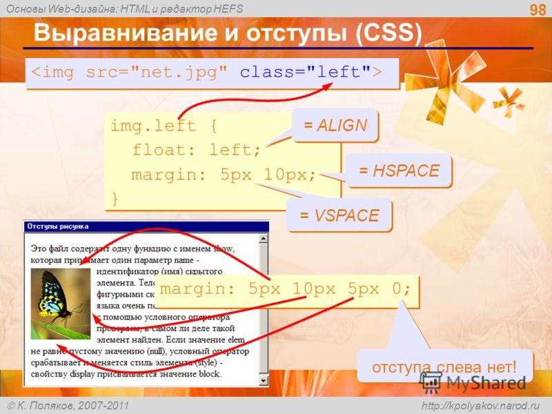 Основы Web-дизайна: HTML и редактор HEFS К. Поляков, 2007-2011 http://kpolyakov.narod.ru 98 Выравнивание и отступы (CSS) img.left { float: left; margin: 5px 10px; } img.left { float: left; margin: 5px 10px; } = VSPACE = HSPACE = ALIGN margin: 5px 10p