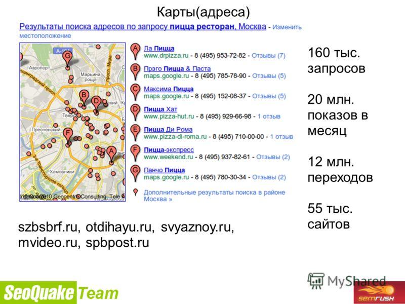 9/26/2010 Карты(адреса) 160 тыс. запросов 20 млн. показов в месяц 12 млн. переходов 55 тыс. сайтов szbsbrf.ru, otdihayu.ru, svyaznoy.ru, mvideo.ru, spbpost.ru