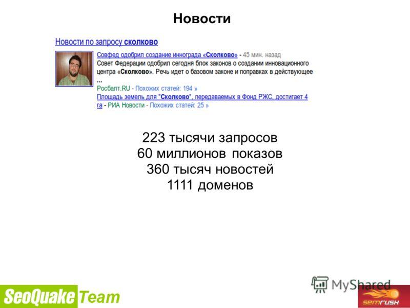 9/26/2010 Новости 223 тысячи запросов 60 миллионов показов 360 тысяч новостей 1111 доменов