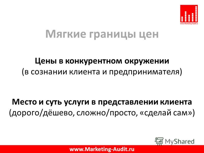 Мягкие границы цен Цены в конкурентном окружении (в сознании клиента и предпринимателя) Место и суть услуги в представлении клиента (дорого/дёшево, сложно/просто, «сделай сам») www.Marketing-Audit.ru