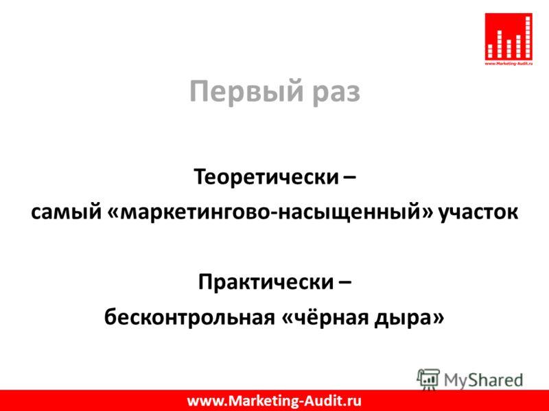 Первый раз Теоретически – самый «маркетингово-насыщенный» участок Практически – бесконтрольная «чёрная дыра» www.Marketing-Audit.ru