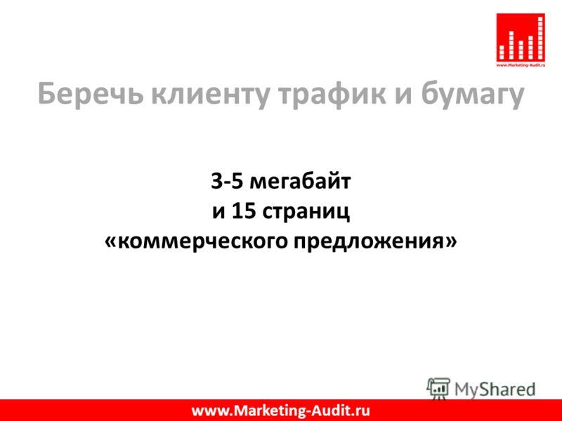 Беречь клиенту трафик и бумагу 3-5 мегабайт и 15 страниц «коммерческого предложения» www.Marketing-Audit.ru