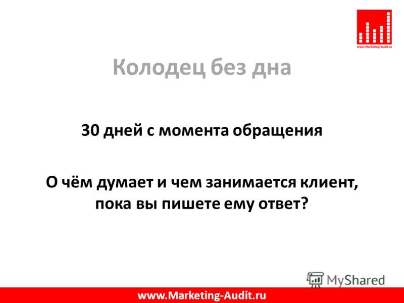Колодец без дна 30 дней с момента обращения О чём думает и чем занимается клиент, пока вы пишете ему ответ? www.Marketing-Audit.ru