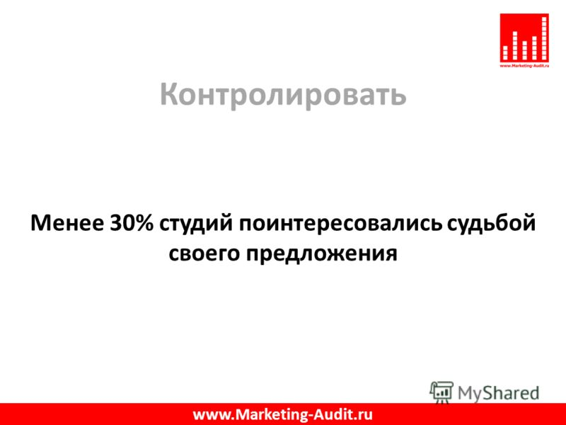 Контролировать Менее 30% студий поинтересовались судьбой своего предложения www.Marketing-Audit.ru