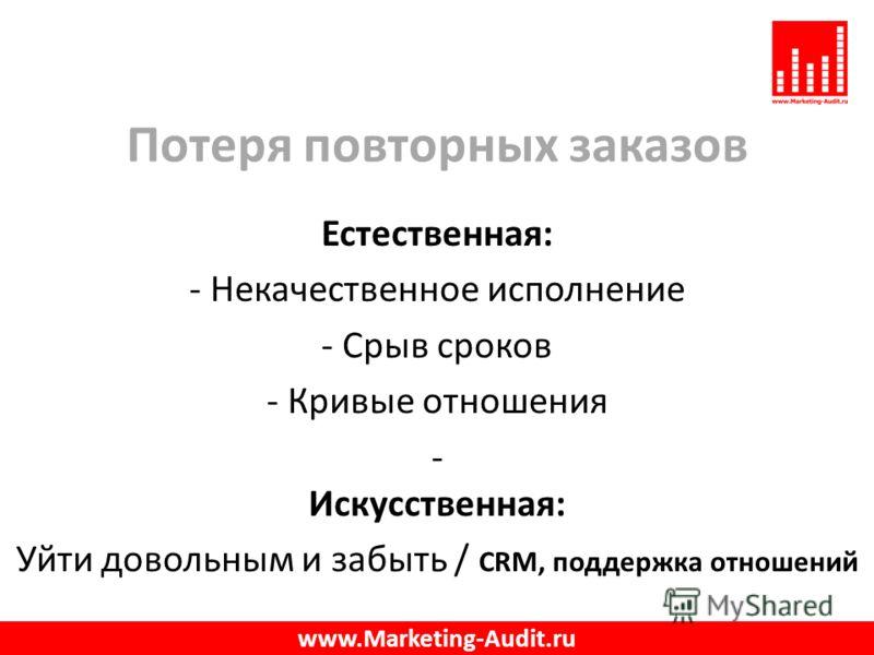 Потеря повторных заказов Естественная: - Некачественное исполнение - Срыв сроков - Кривые отношения - Искусственная: Уйти довольным и забыть / CRM, поддержка отношений www.Marketing-Audit.ru