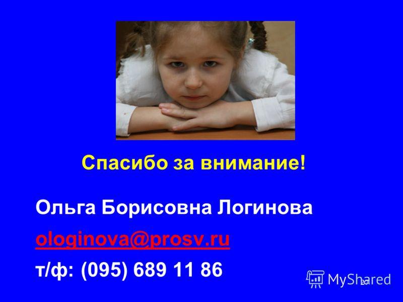 27 Спасибо за внимание! Ольга Борисовна Логинова ologinova@prosv.ru т/ф: (095) 689 11 86