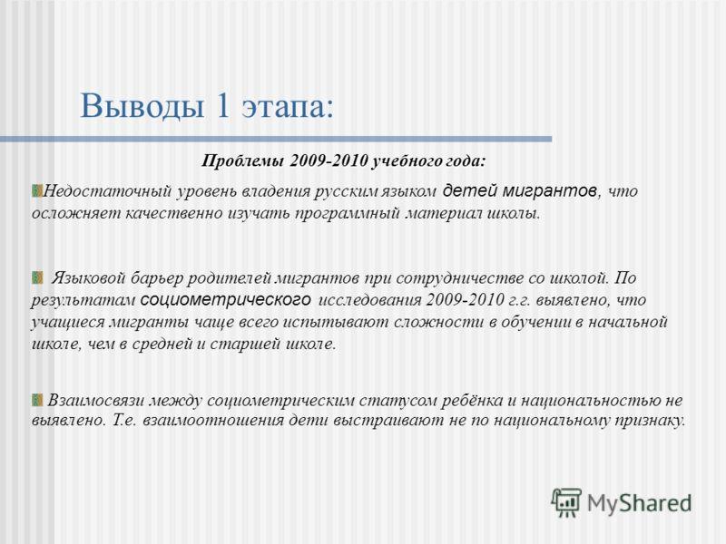 Выводы 1 этапа: Проблемы 2009-2010 учебного года: Недостаточный уровень владения русским языком детей мигрантов, что осложняет качественно изучать программный материал школы. Языковой барьер родителей мигрантов при сотрудничестве со школой. По резуль