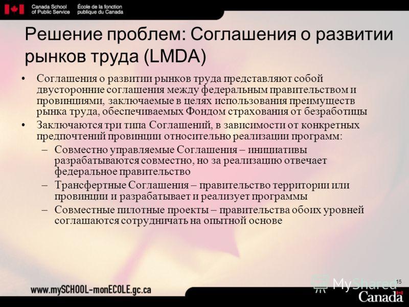 15 Решение проблем: Соглашения о развитии рынков труда (LMDA) Соглашения о развитии рынков труда представляют собой двусторонние соглашения между федеральным правительством и провинциями, заключаемые в целях использования преимуществ рынка труда, обе