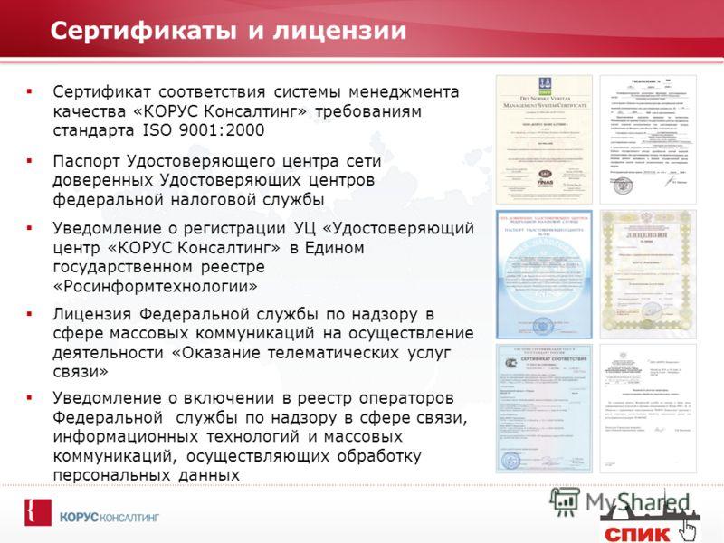 Сертификаты и лицензии Сертификат соответствия системы менеджмента качества «КОРУС Консалтинг» требованиям стандарта ISO 9001:2000 Паспорт Удостоверяющего центра сети доверенных Удостоверяющих центров федеральной налоговой службы Уведомление о регист