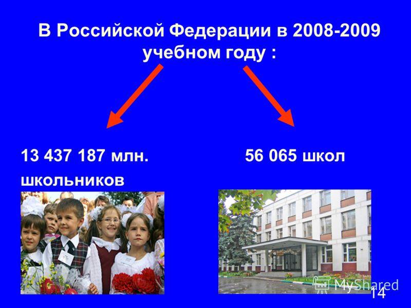 14 В Российской Федерации в 2008-2009 учебном году : 13 437 187 млн. 56 065 школ школьников