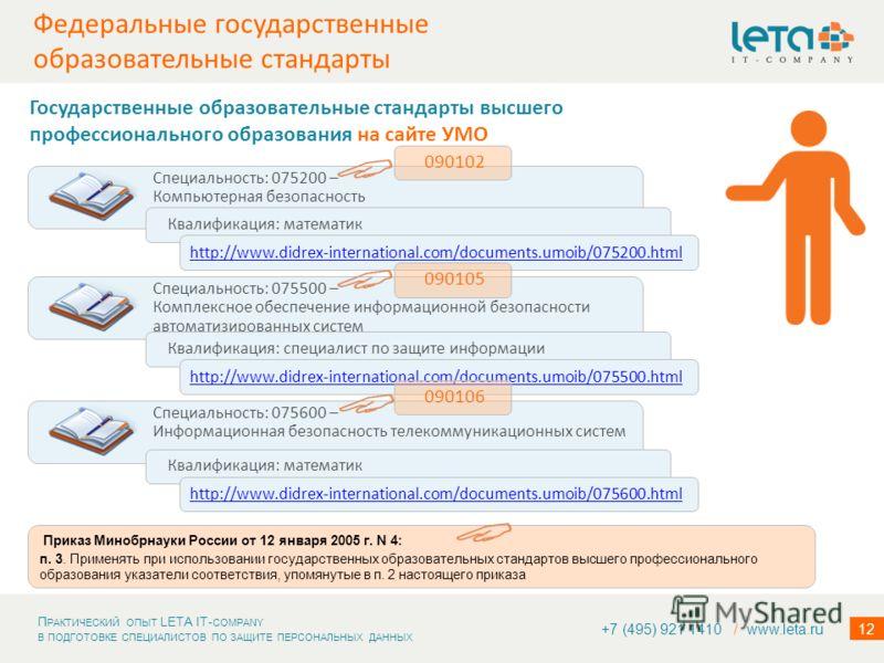 П РАКТИЧЕСКИЙ ОПЫТ LETA IT- COMPANY В ПОДГОТОВКЕ СПЕЦИАЛИСТОВ ПО ЗАЩИТЕ ПЕРСОНАЛЬНЫХ ДАННЫХ 12 Федеральные государственные образовательные стандарты +7 (495) 921 1410 / www.leta.ru http://www.edu.ru/mon/index.php?page_id=240 Государственные образоват