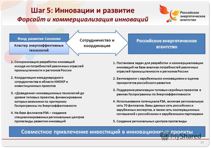 Фонд развития Сколково Российское энергетическое агентство Кластер энергоэффективных технологий Сотрудничество и координация 1.Постановка задач для разработки и коммерциализации инноваций на базе анализа потребностей различных отраслей промышленности