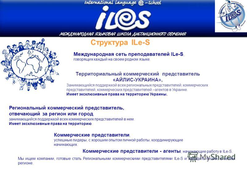 Территориальный коммерческий представитель «АЙЛИС-УКРАИНА», Занимающийся поддержкой всех региональных представителей, коммерческих представителей, коммерческих представителей –агентов в Украине. Имеет эксклюзивные права на территорию Украины. Структу