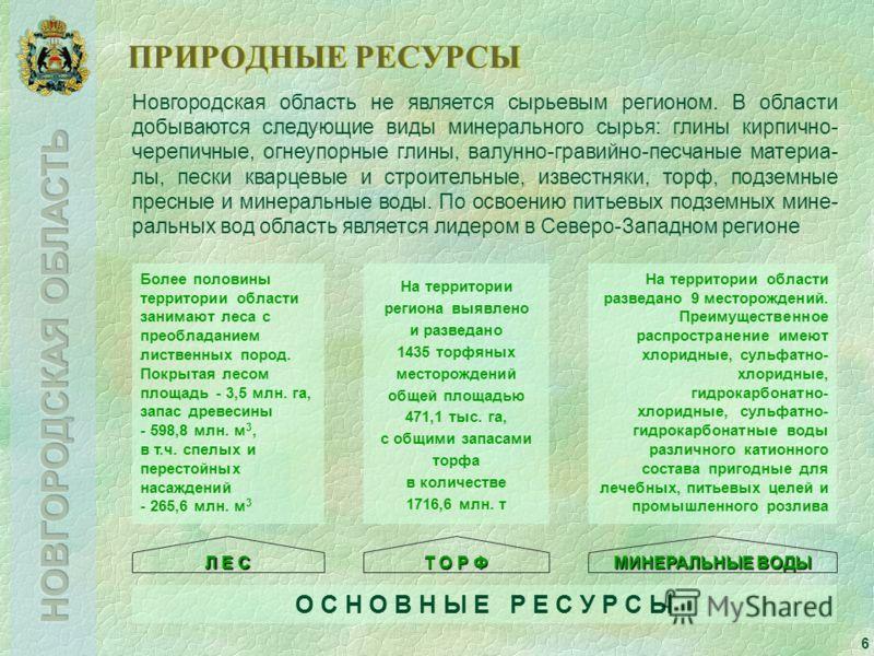 6 ПРИРОДНЫЕ РЕСУРСЫ Новгородская область не является сырьевым регионом. В области добываются следующие виды минерального сырья: глины кирпично- черепичные, огнеупорные глины, валунно-гравийно-песчаные материа- лы, пески кварцевые и строительные, изве